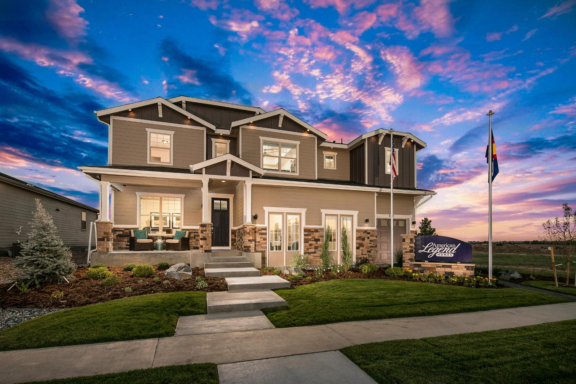 Heritage Ridge Plan C505 Twilight Photo Front Elevation by American Legend Homes