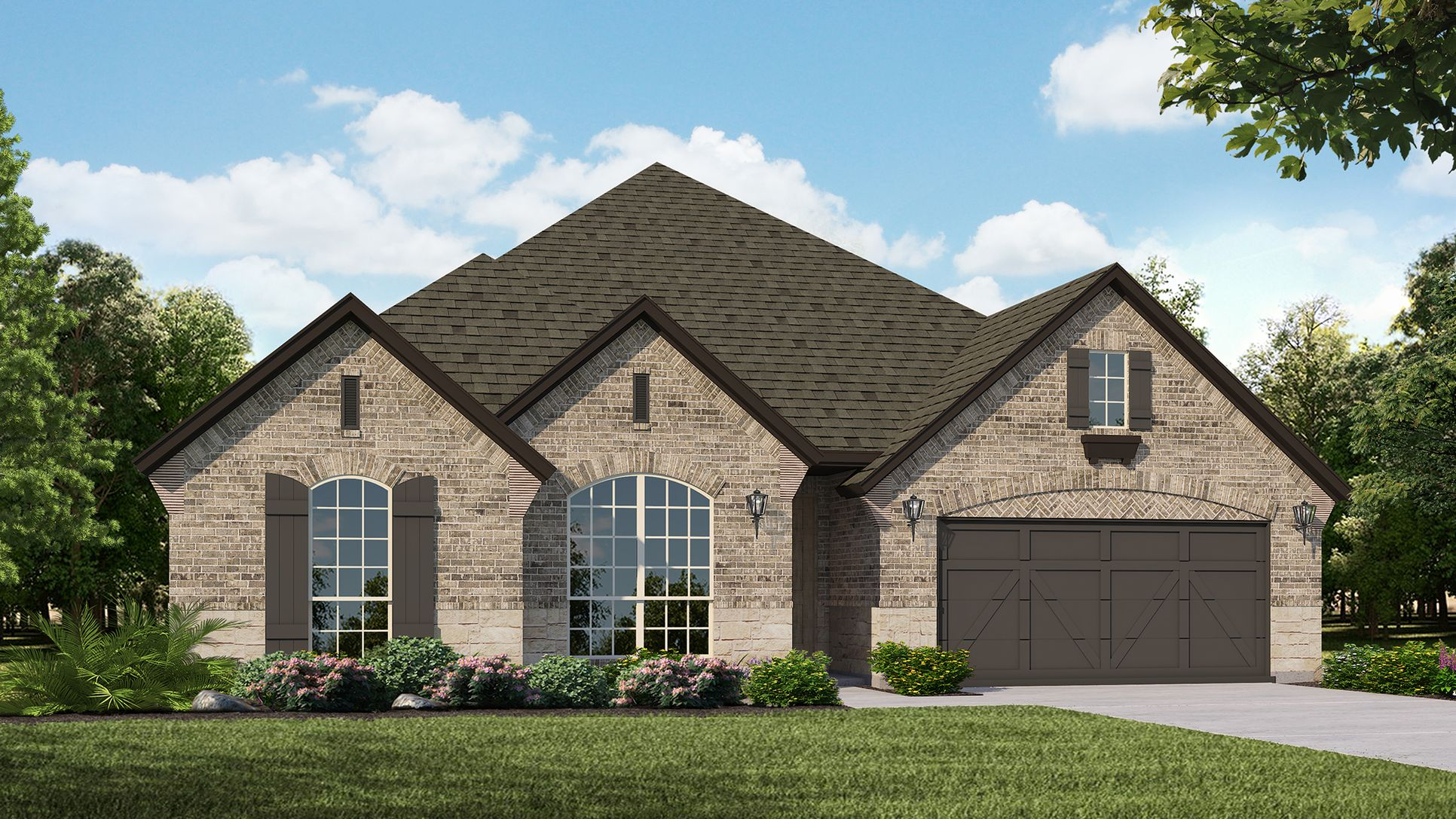 Exterior:Plan 1602 Elevation A with Stone by American Legend Homes