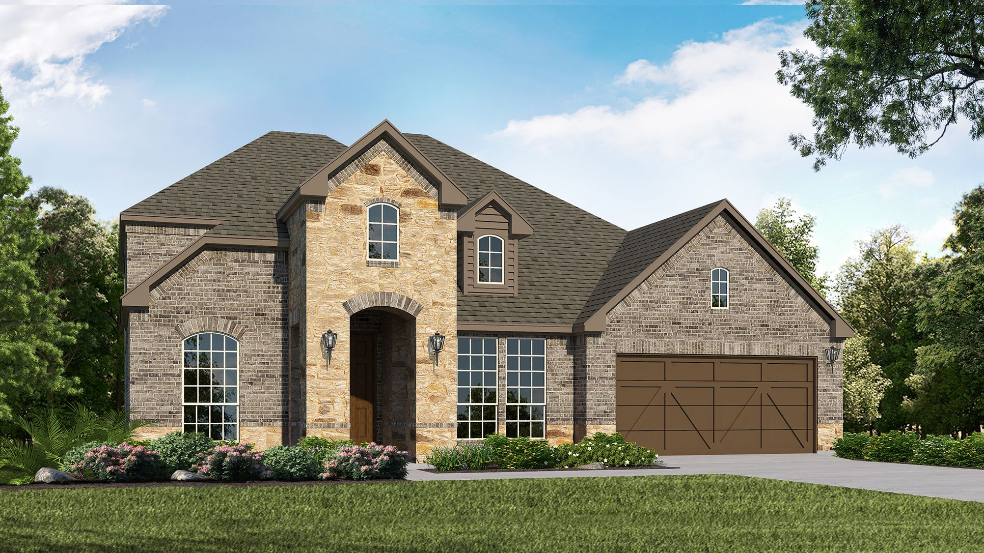 Exterior:Plan 1604 Elevation A with Stone by American Legend Homes