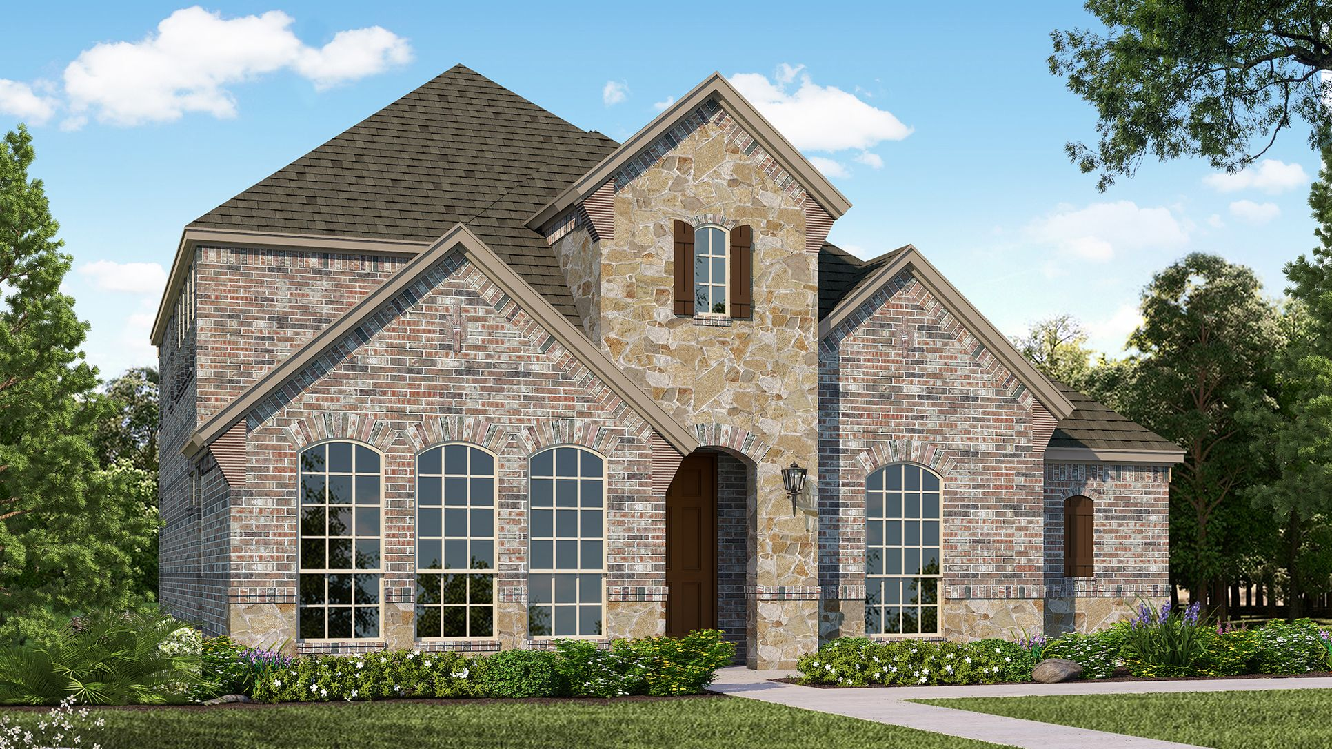 Exterior:Plan 1594 Elevation A with Stone by American Legend Homes