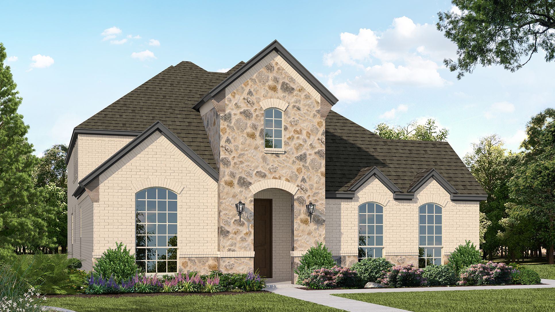 Exterior:Plan 1597 Elevation A with Stone by American Legend Homes