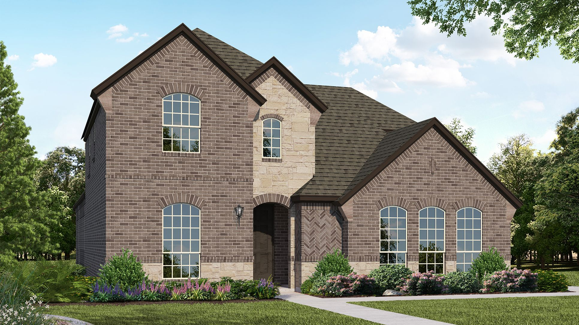 Exterior:Plan 1599 Elevation A with Stone by American Legend Homes