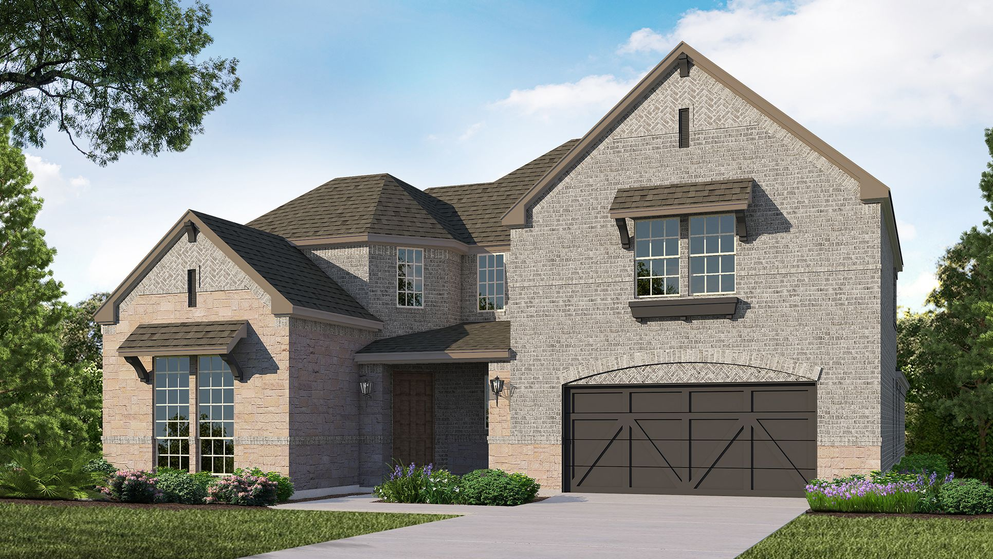 Exterior:Plan 1608 Elevation A with Stone by American Legend Homes