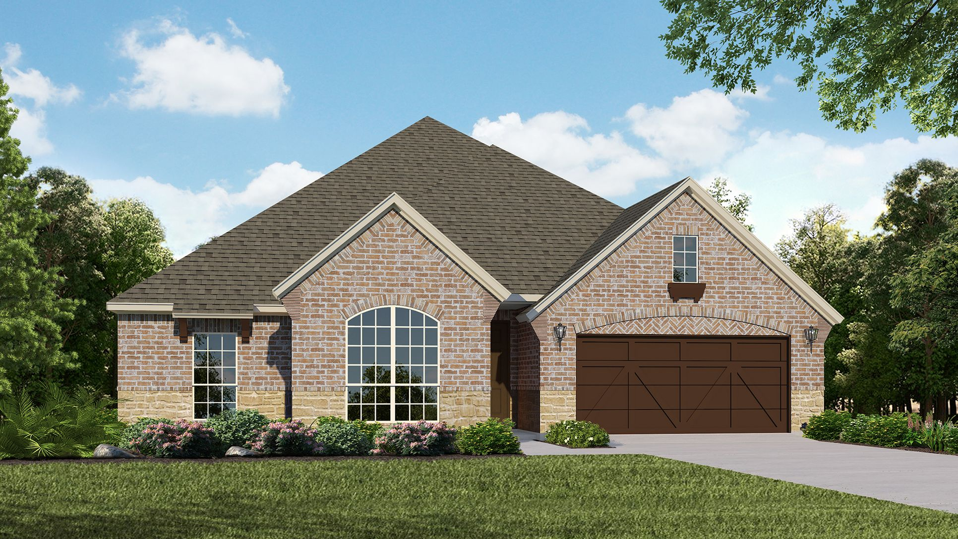 Exterior:Plan 1606 Elevation A with Stone by American Legend Homes