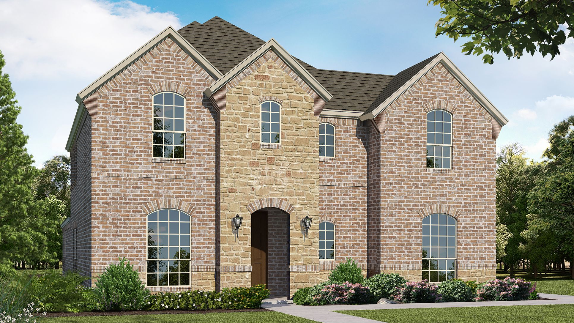 Exterior:Plan 1596 Elevation A with Stone by American Legend Homes