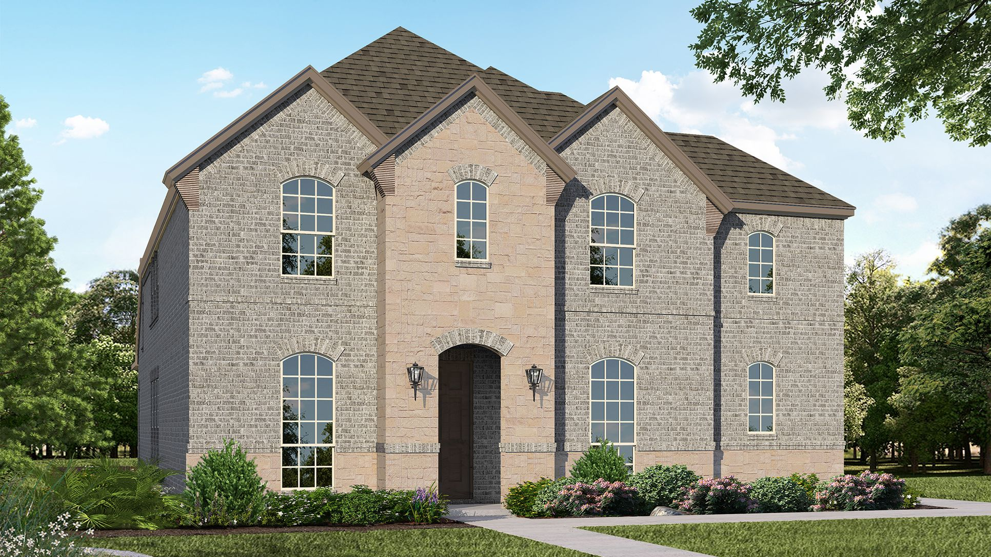 Exterior:Plan 1598 Elevation A with Stone by American Legend Homes