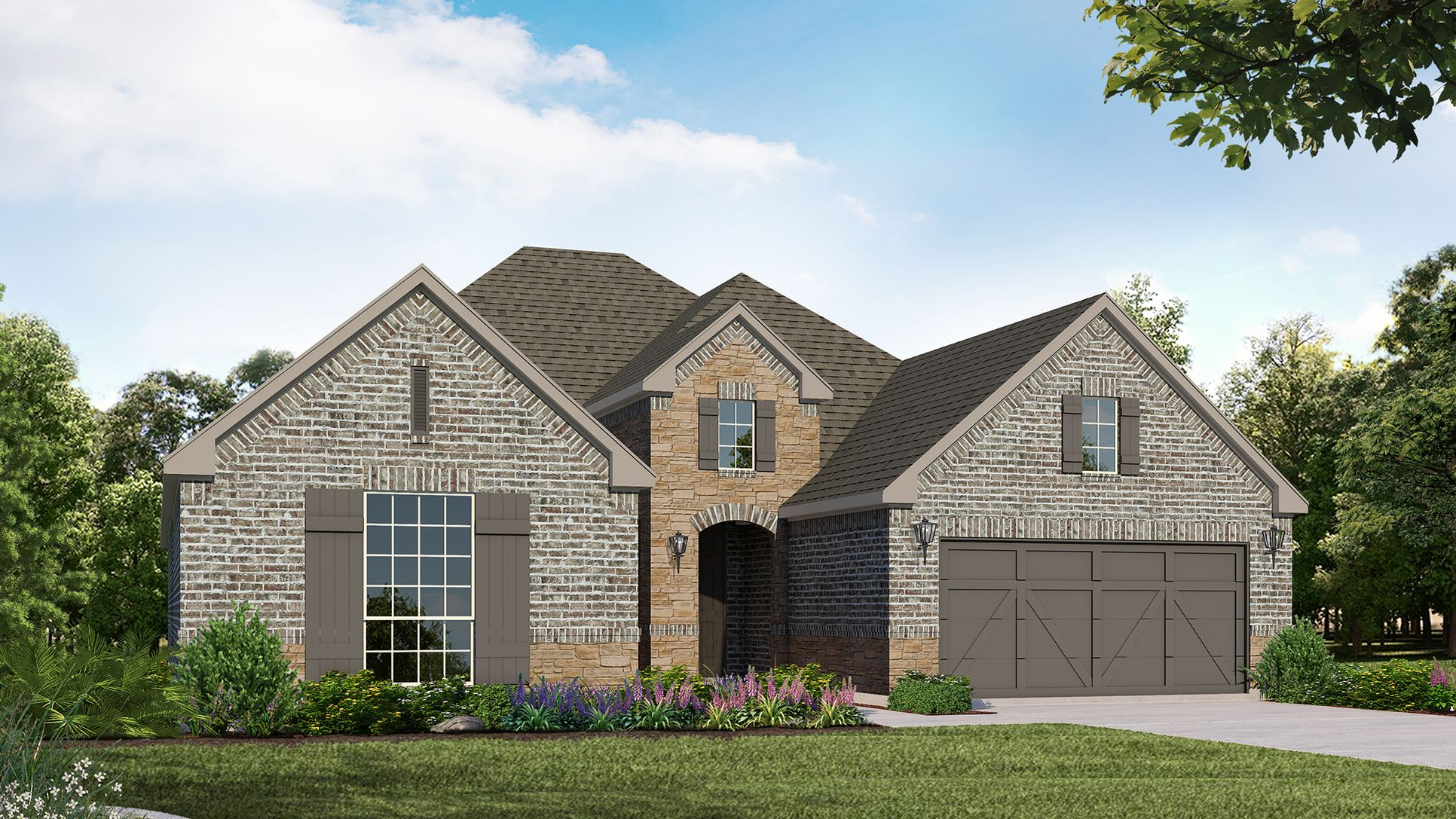 Exterior:Plan 1601 Elevation A with Stone by American Legend Homes