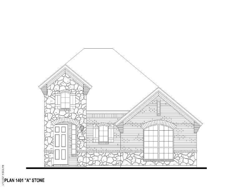 Exterior:Plan 1401 Elevation A w/ stone