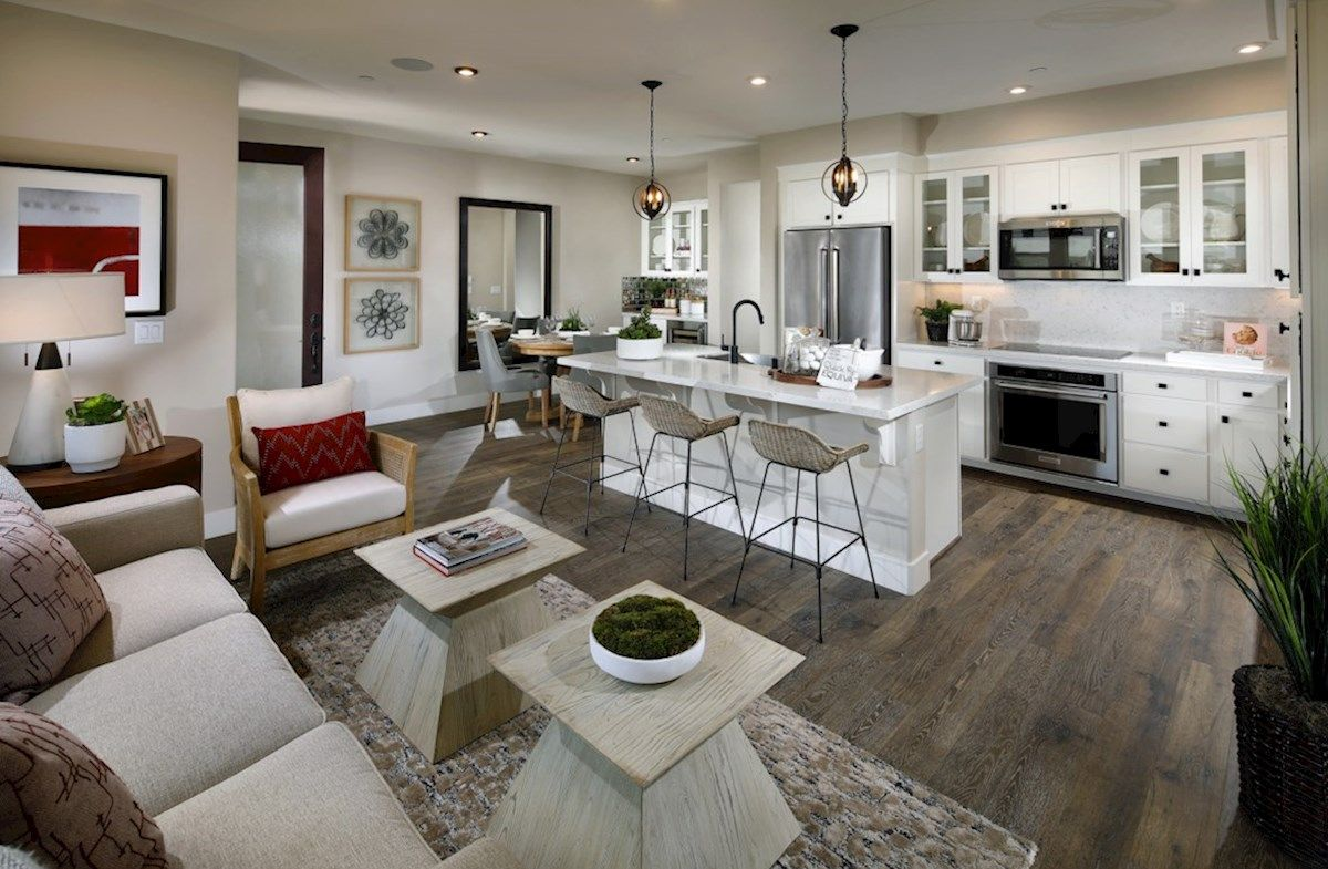 Interior:Plan 1 Living Room and Kitchen