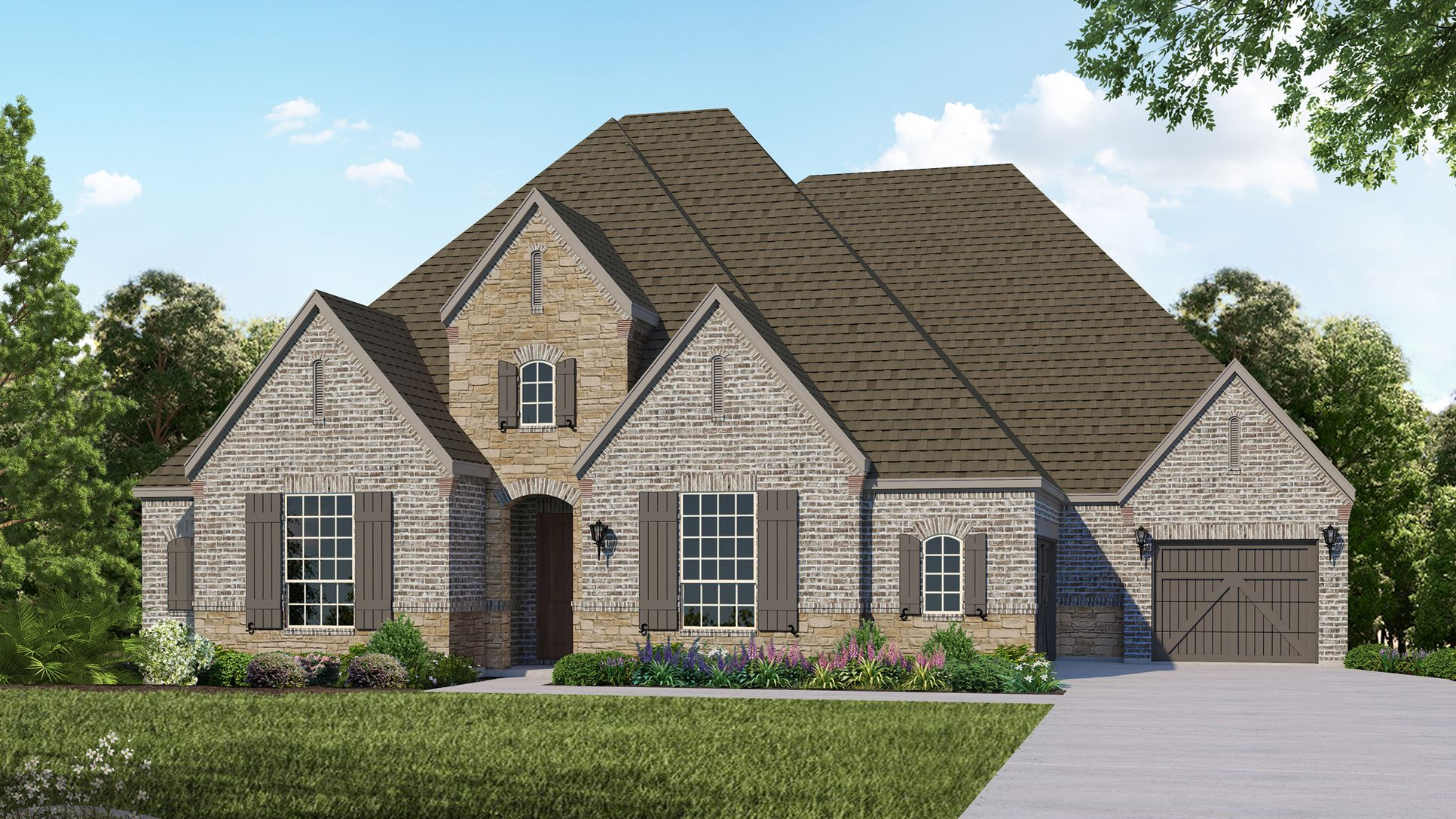 Exterior:Plan B914 Elevation D with Stone