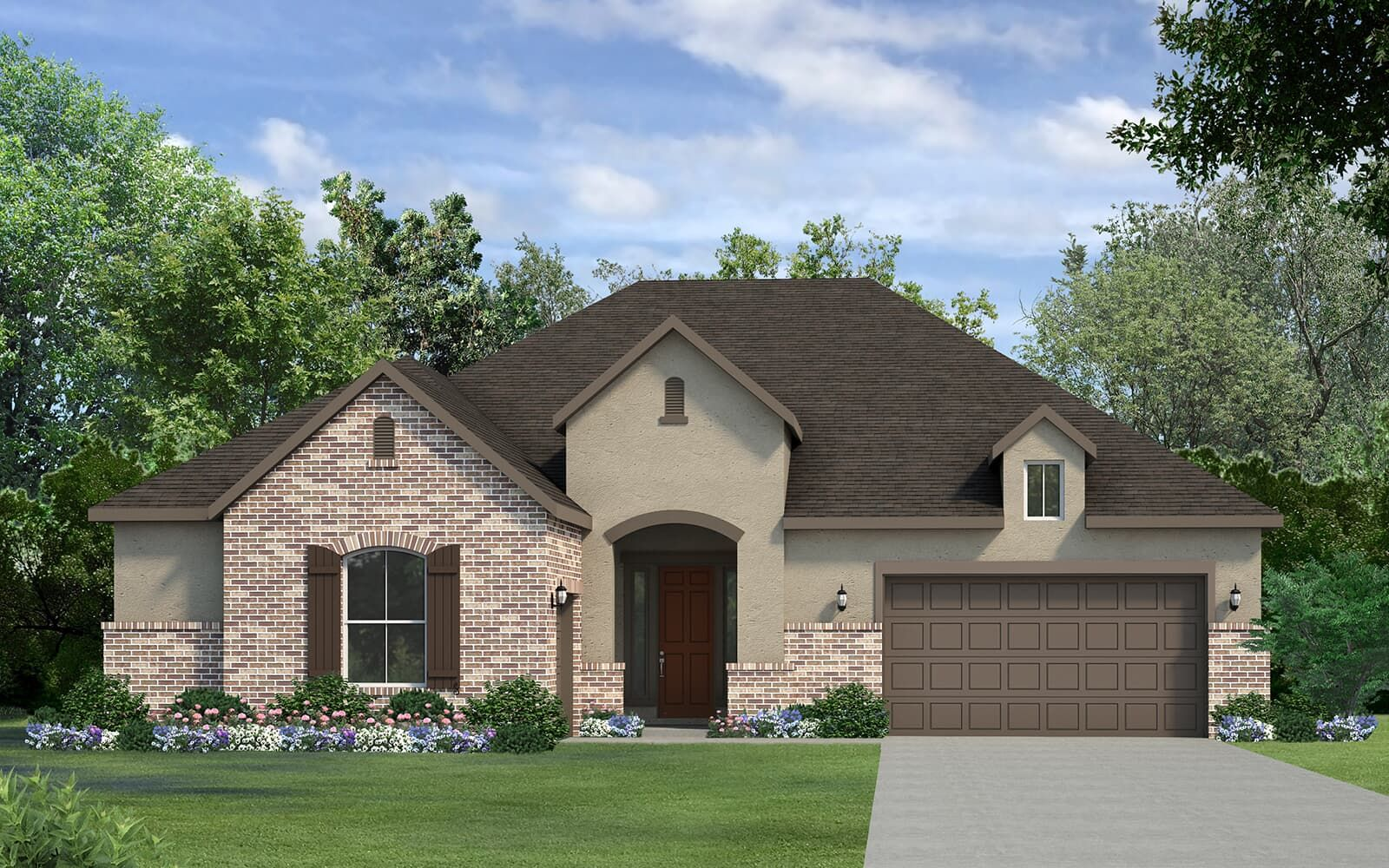 Exterior:Champain floorplan for Kissing Tree by Brookfield residential in Austin, TX