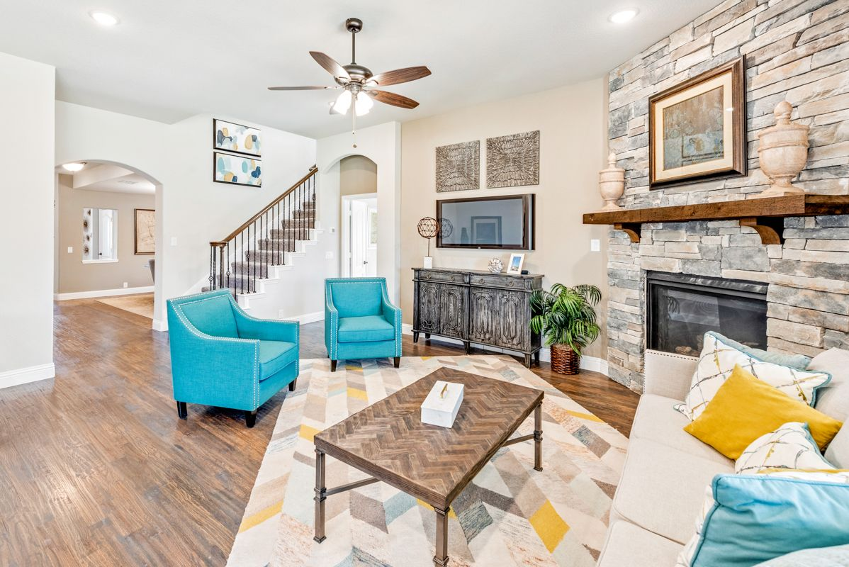 Family Room:Model Family Room with Fireplace