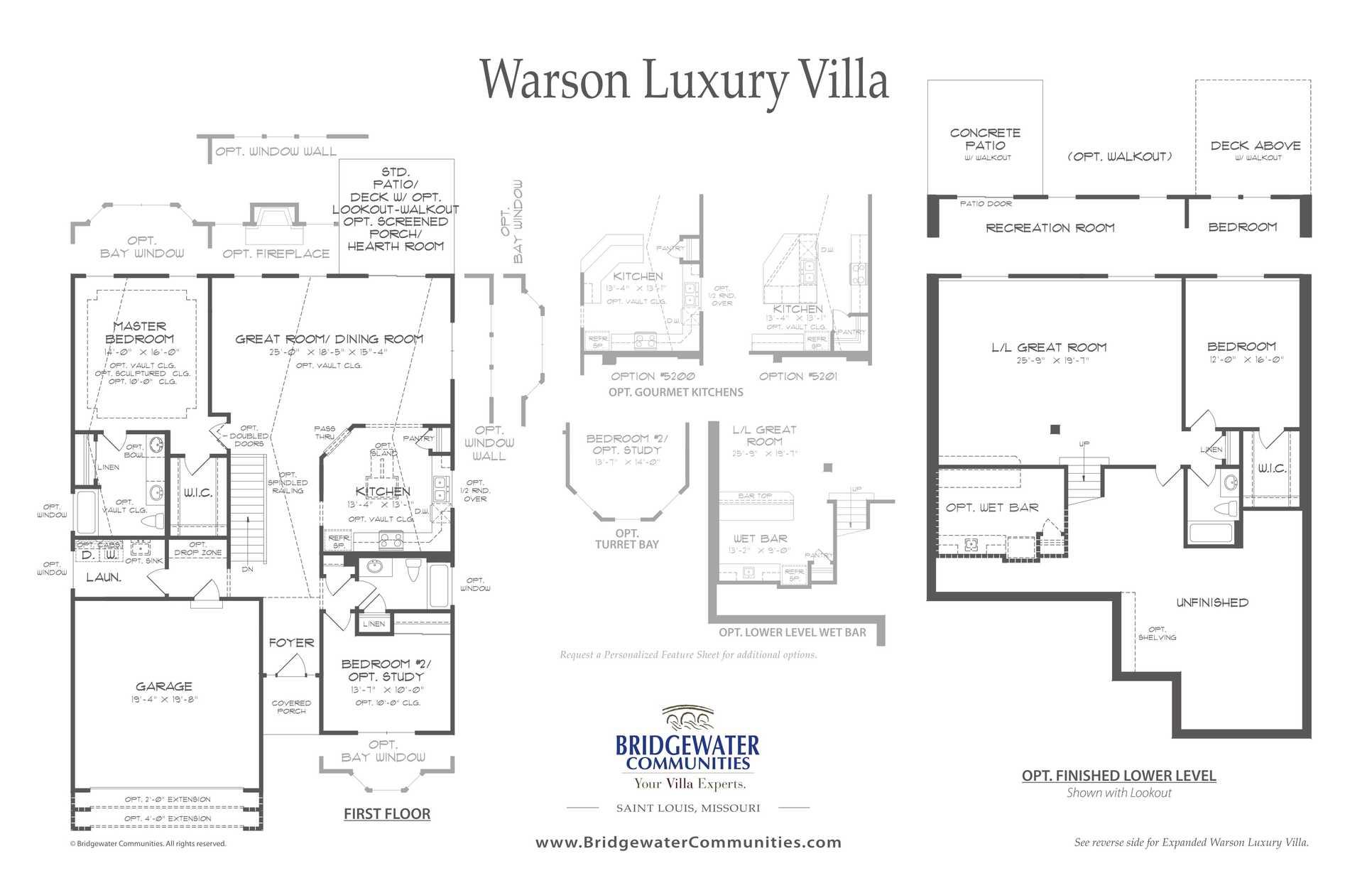 Warson floorplan by Bridgewater Communities:1600 sq ft Ranch plan