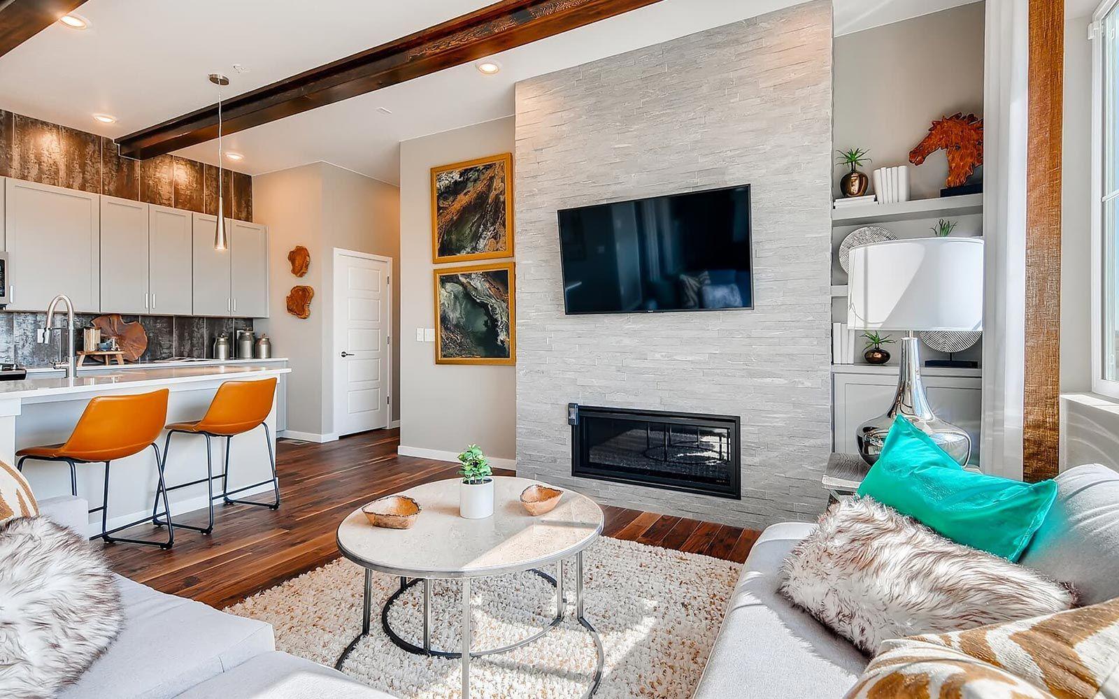 Exterior:Family Room in Villa One at Villa Portfolio at Brighton Crossings in Brighton, Colorado by Brookfield Residential