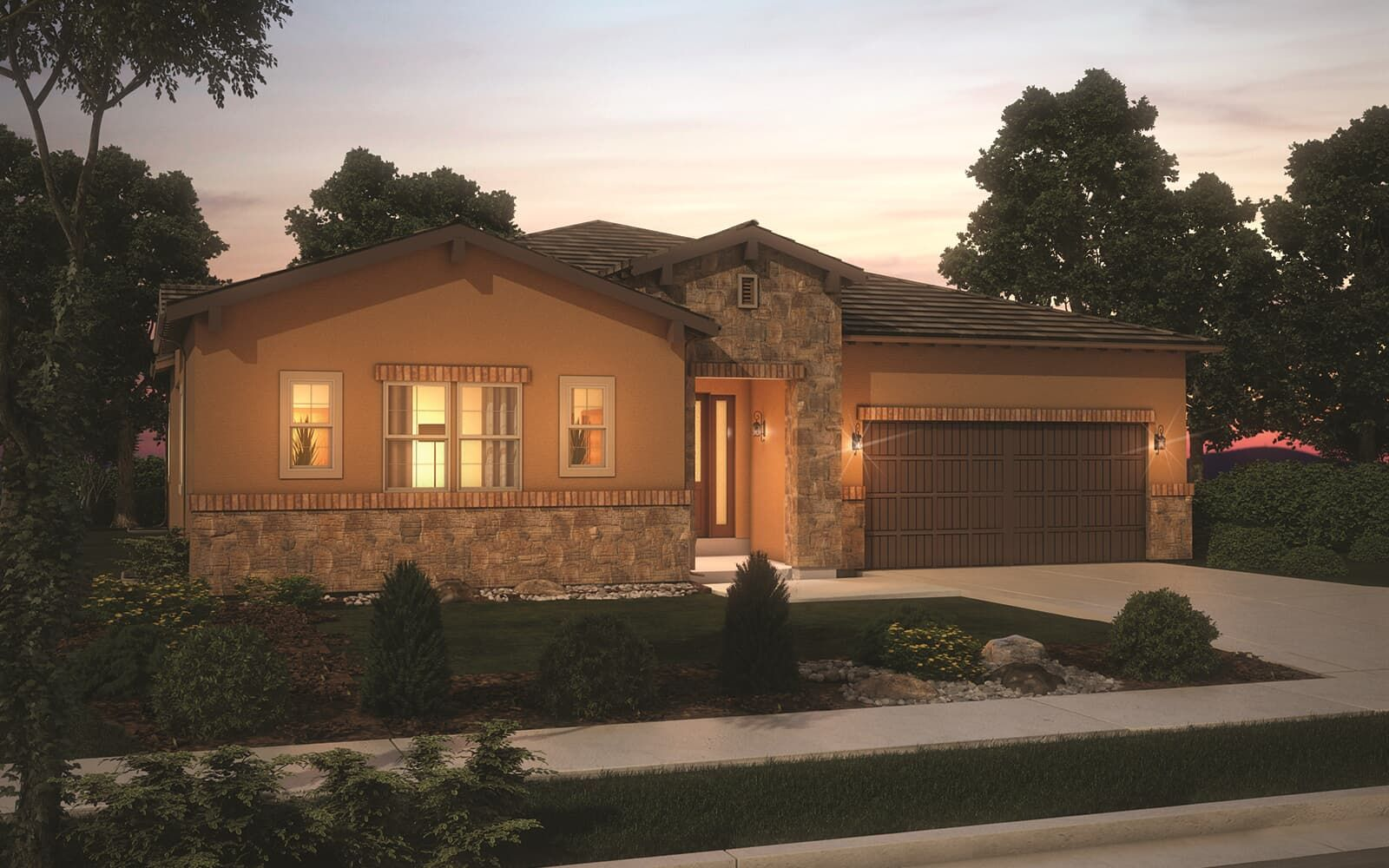 Exterior:Exterior rendering of the Harvest 11 Tuscan elevation residence at Solterra in Lakewood, CO