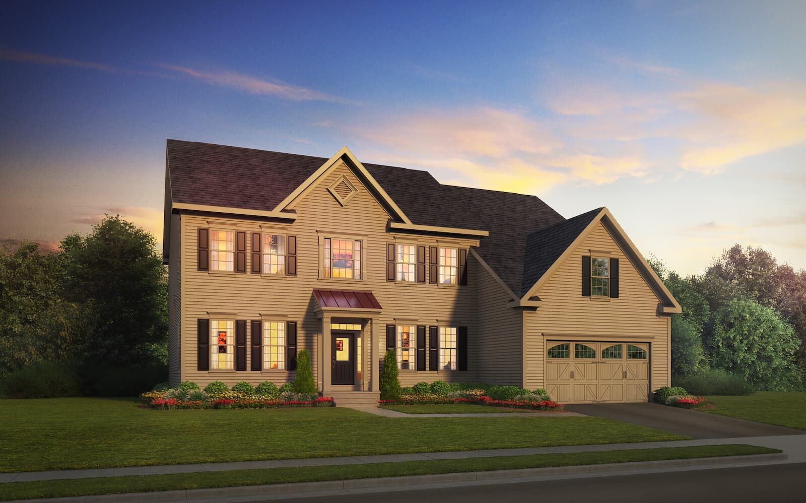 Exterior:Elevation 1 of the Hadleigh a home design by Brookfield Residential at Waterford Manor