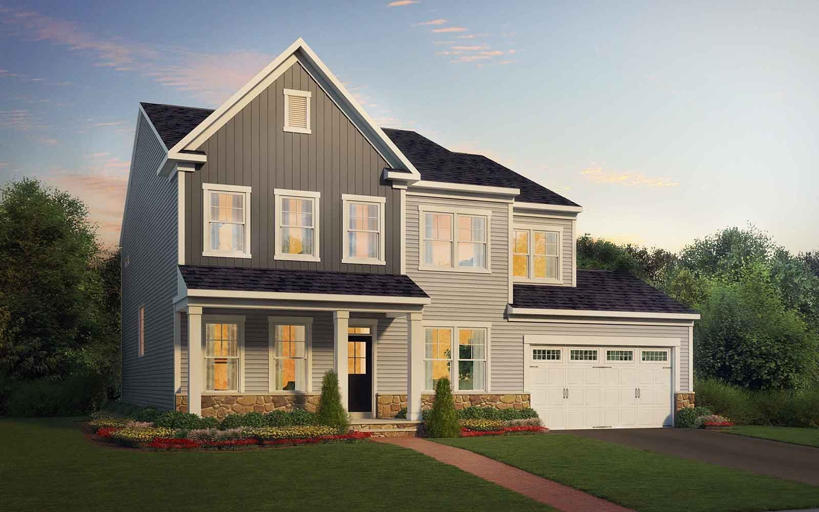 Exterior:Elevation 5 of the Kensington a single family home design by Brookfield Residential at Waterford Manor