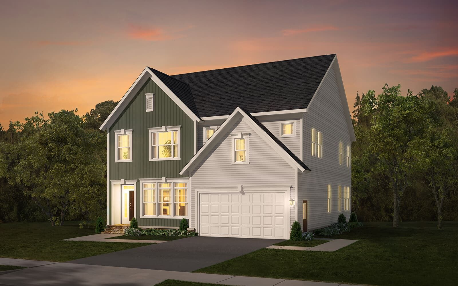 Exterior:Elevation 1 of the Beckner a home design by Brookfield Residential at The Bluffs at Sleeter Lake