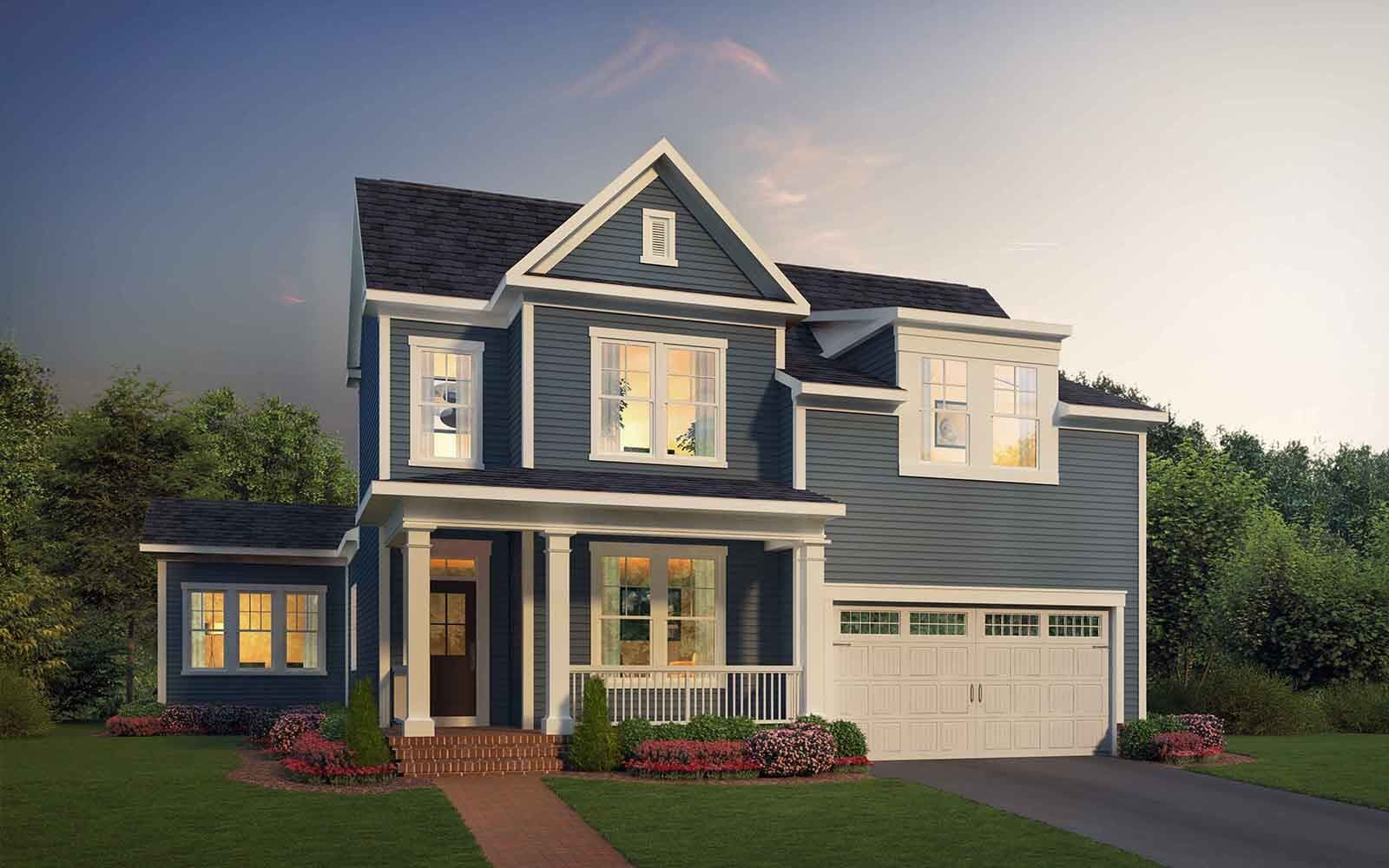 Exterior:Elevation 1 of the Torrington II a home design by Brookfield Residential at The Bluffs at Sleeter Lake