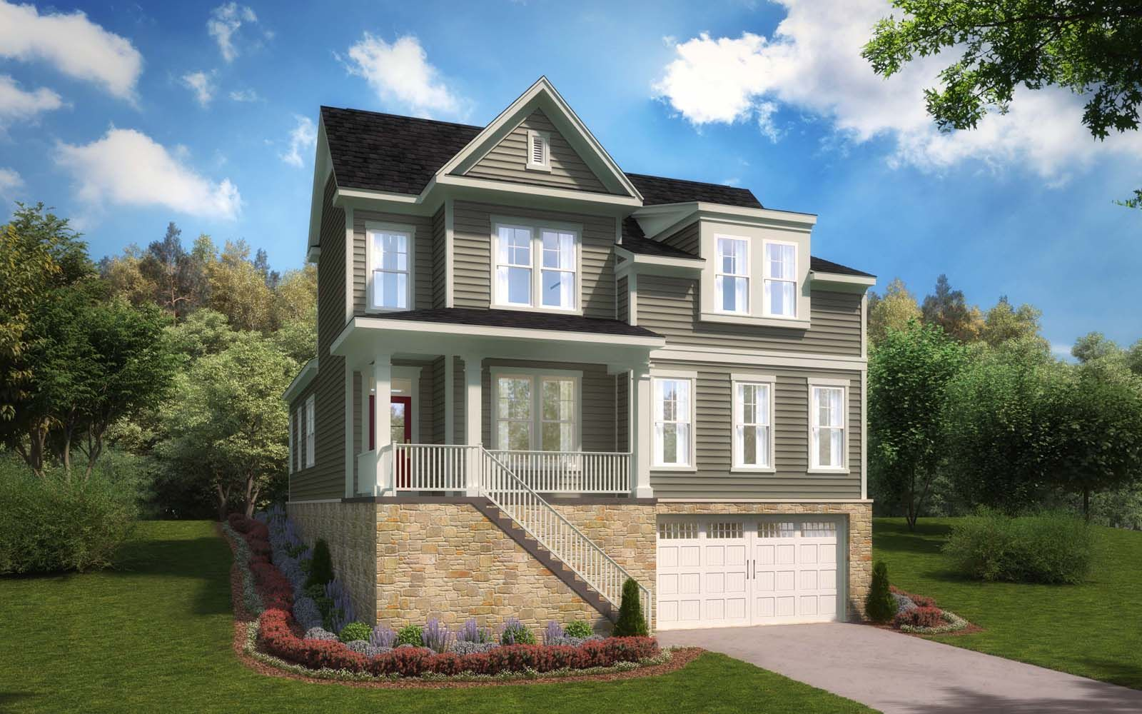 Exterior:Elevation 1 of the Townsend a home design by Brookfield Residential at Ridgeview