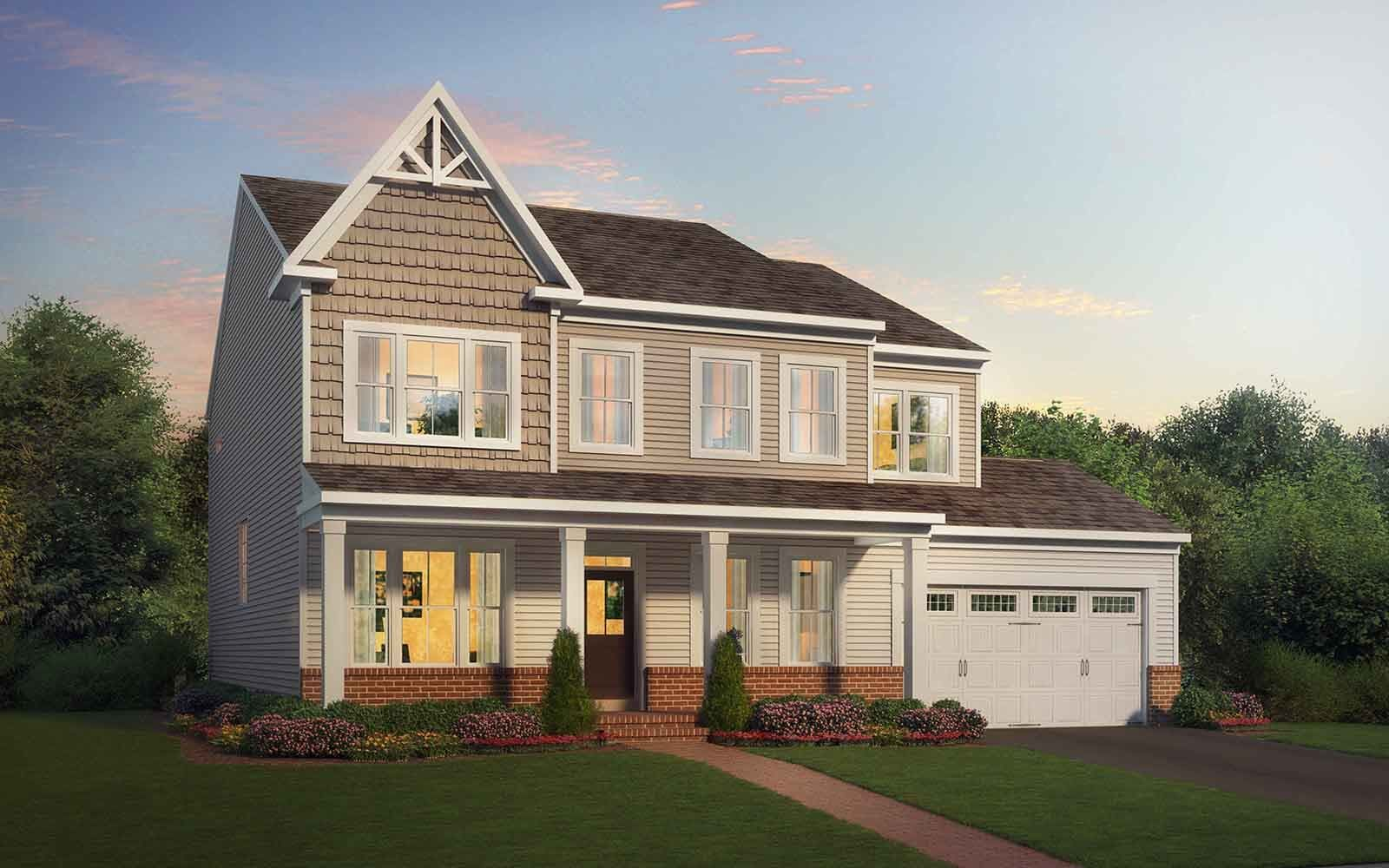 Exterior:Elevation 4 of the Kensington II a home design by Brookfield Residential at Potomac Shores