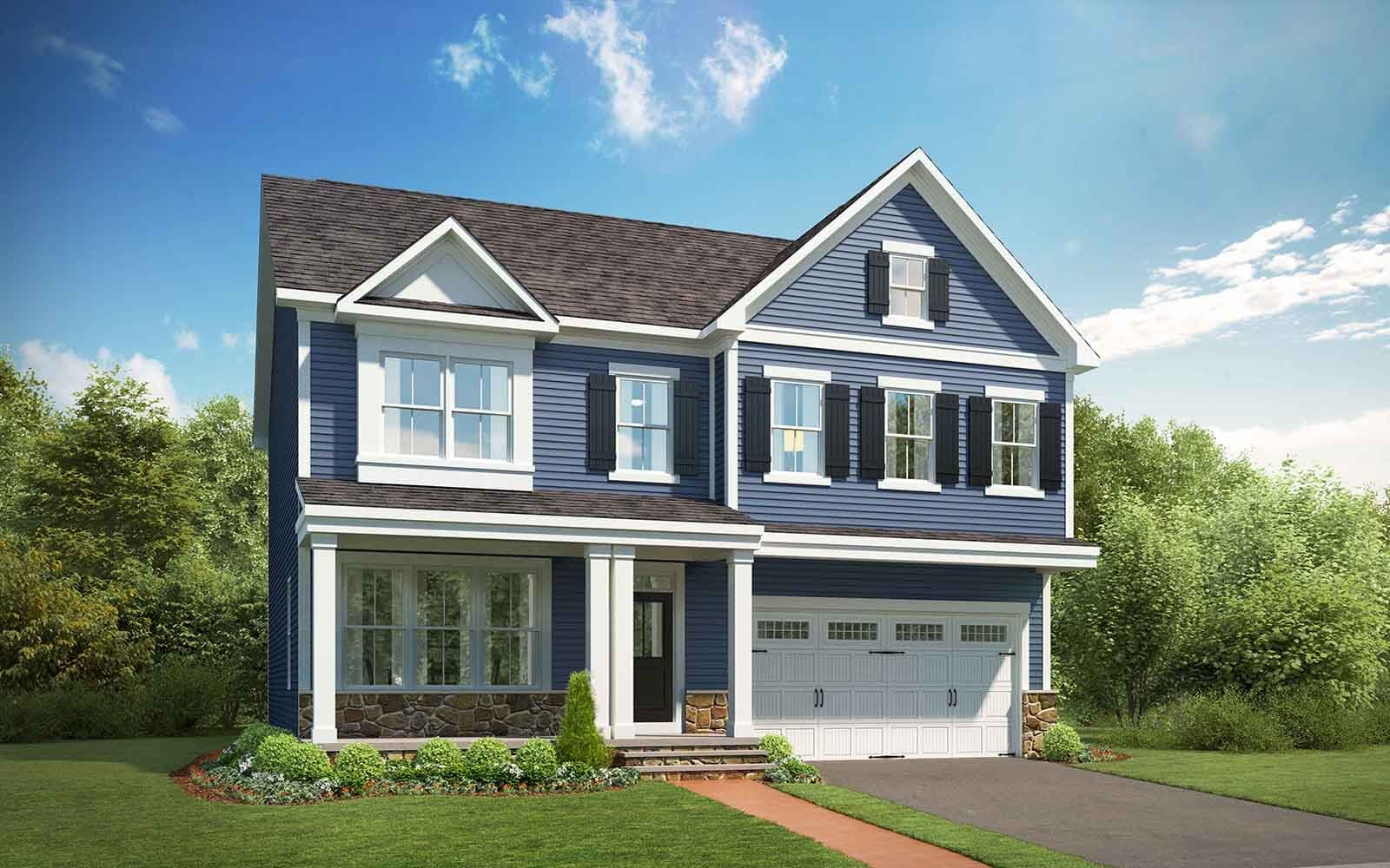 Exterior:Elevation 4 of the Manchester II a home design by Brookfield Residential at Potomac Shores