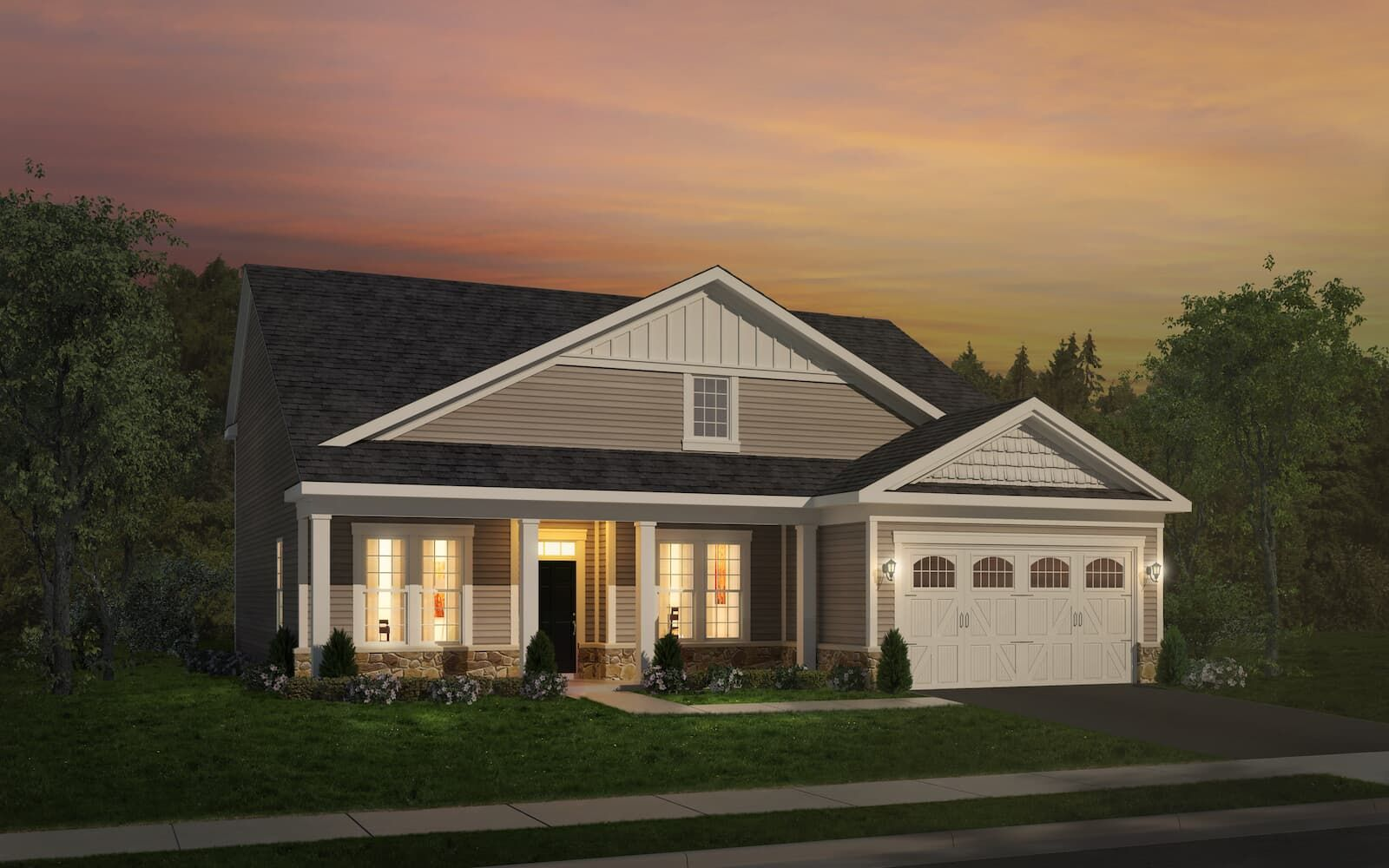 Exterior:Elevation 1 of the Pearson a home design offered at Heritage Shores in Bridgeville DE by Brookfield Residential