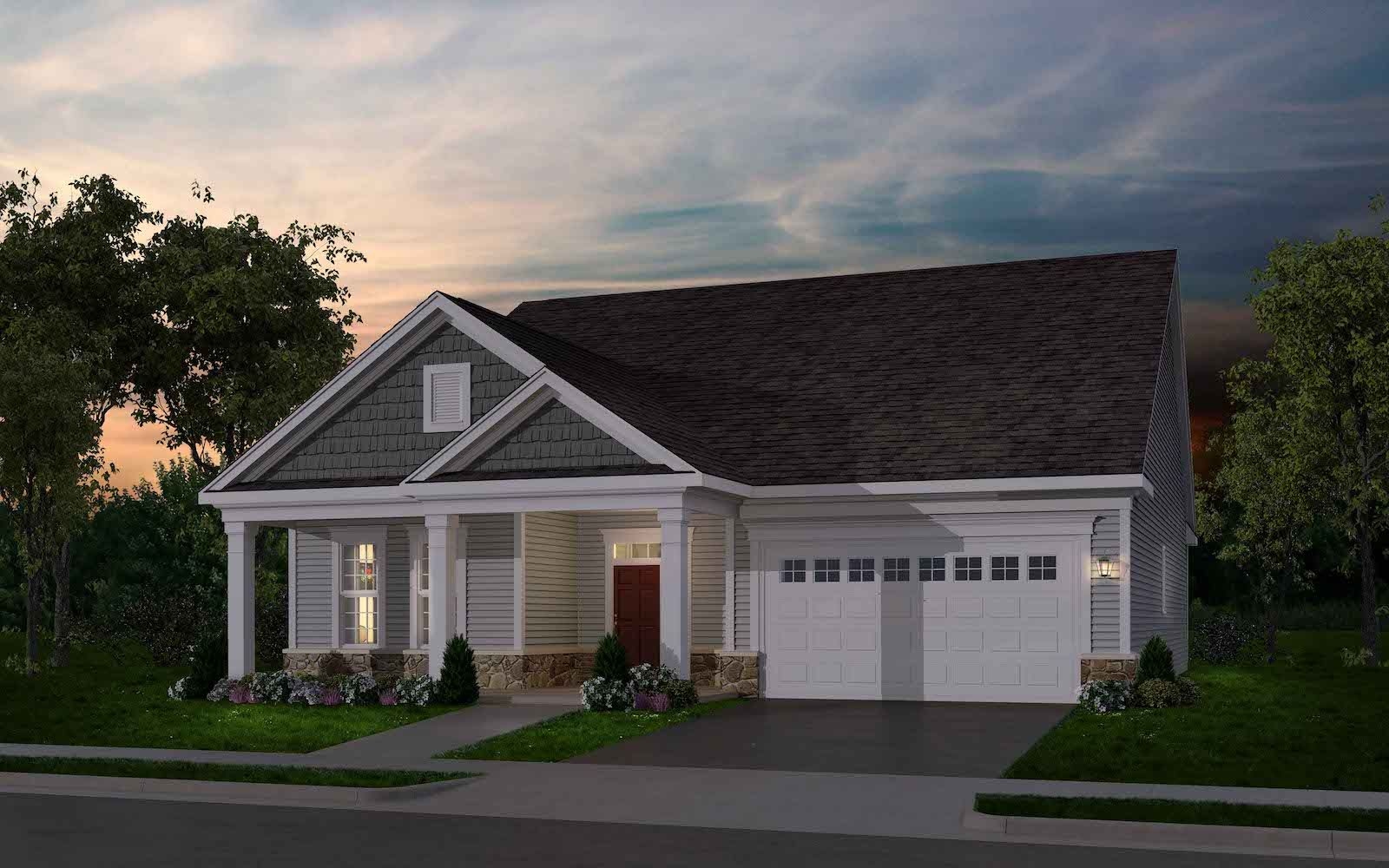 Exterior:Elevation 1 of the Quincy II a home design offered at Heritage Shores in Bridgeville DE by Brookfield Residential