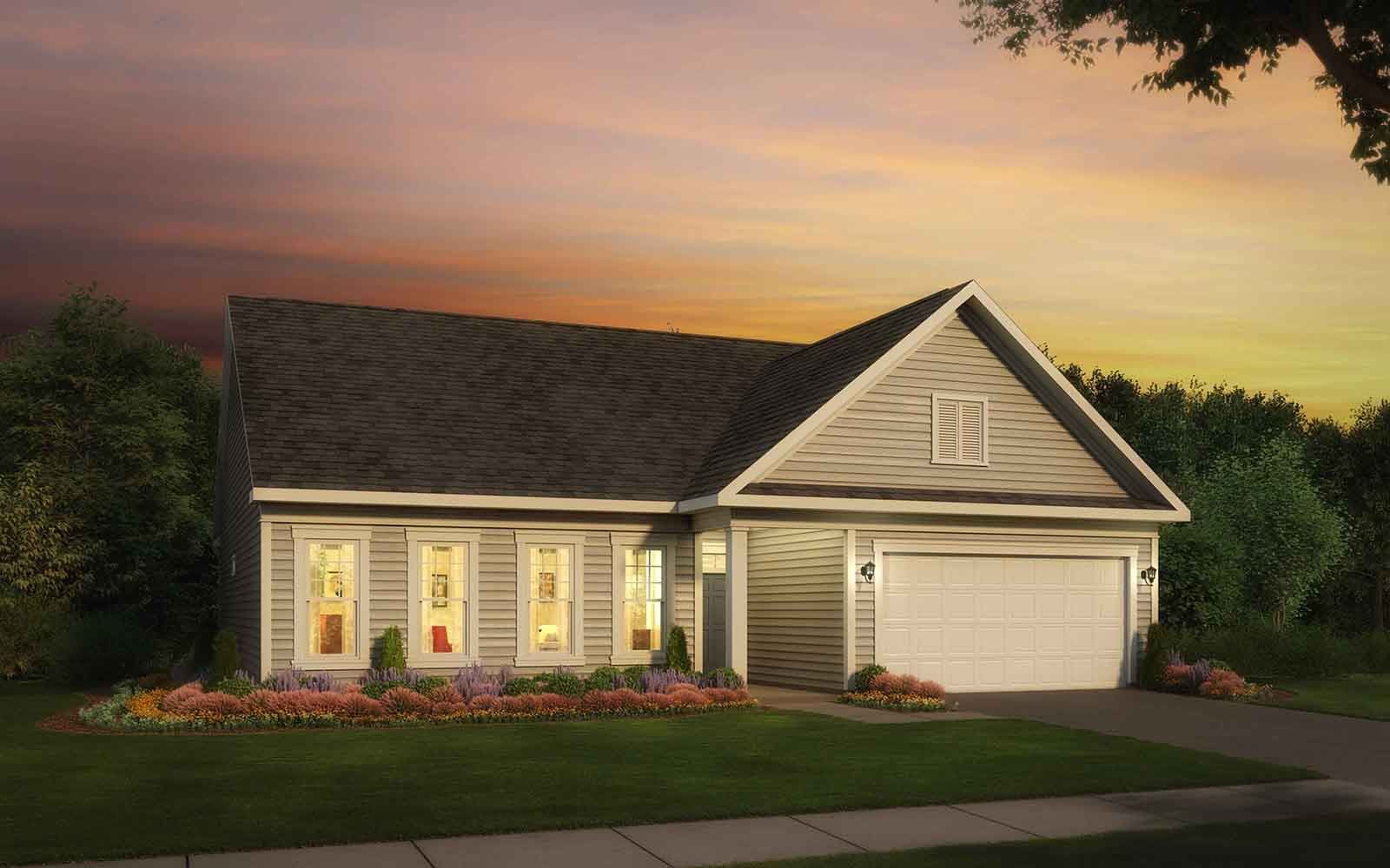 Exterior:Elevation 1 of the Savoy II a home design offered at Heritage Shores in Bridgeville DE by Brookfield Residential