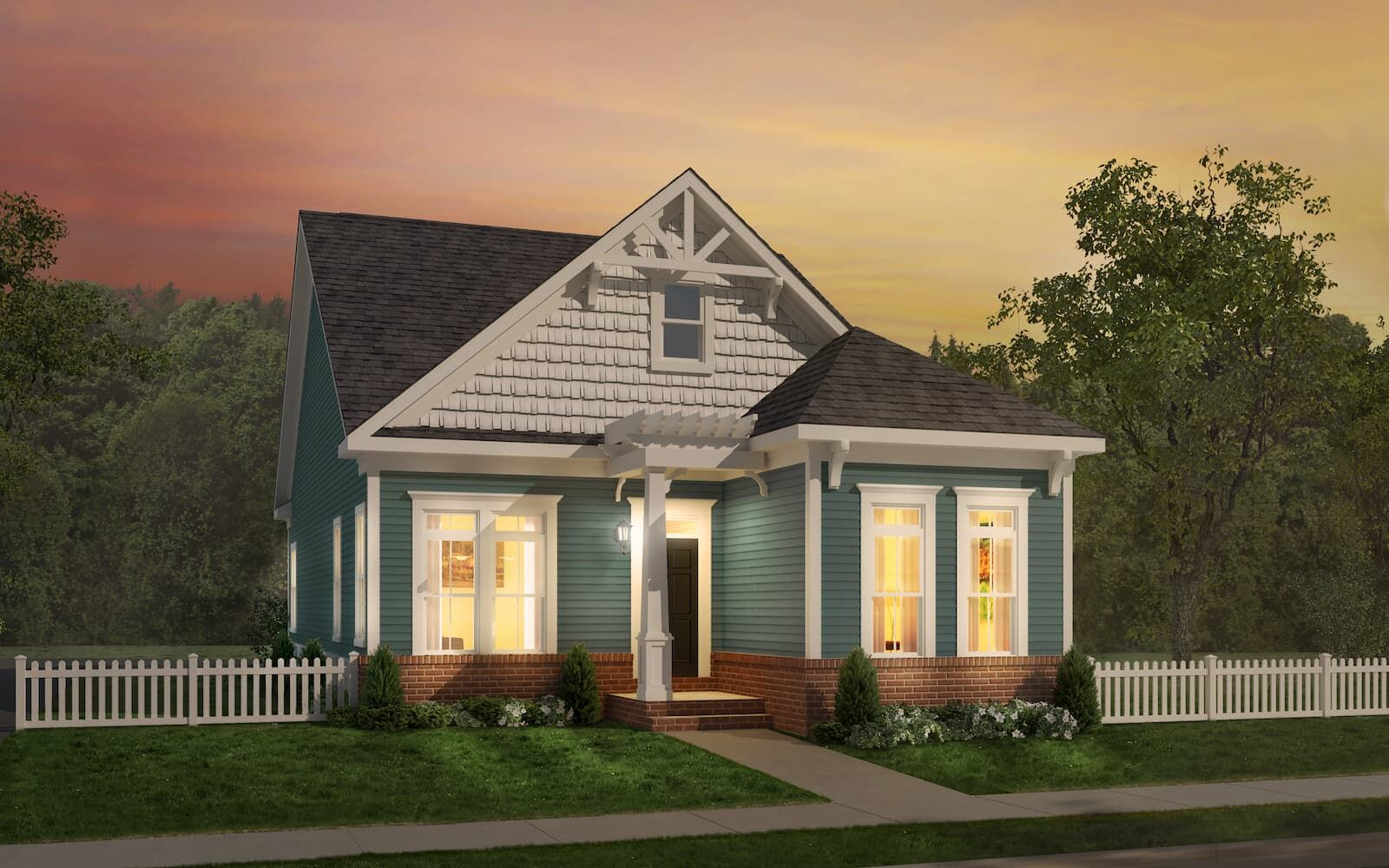 Exterior:Elevation 1 of the Abbott II a home design at Easton Village by Brookfield Residential