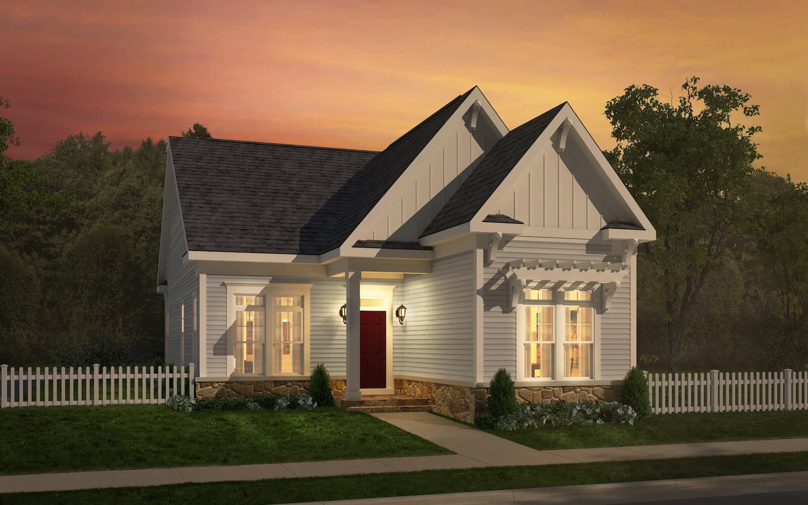 Exterior:Elevation 1 of the Bridgeport II a home design at Easton Village by Brookfield Residential