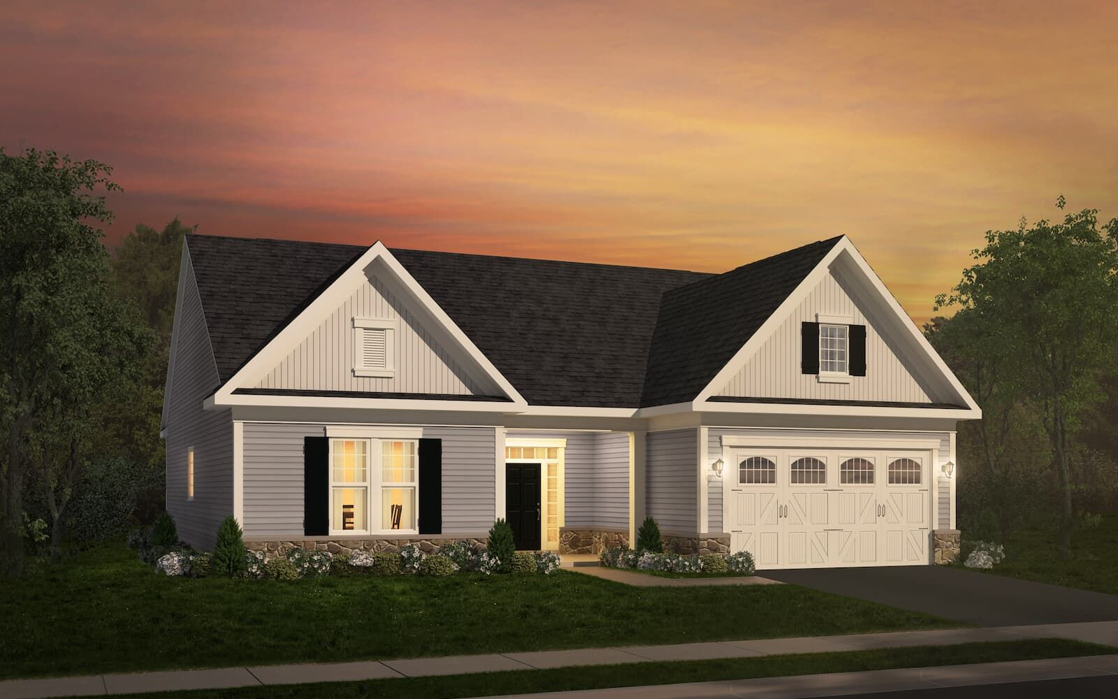 Exterior:Elevation 1 of the Savoy a home design at Easton Village by Brookfield Residential