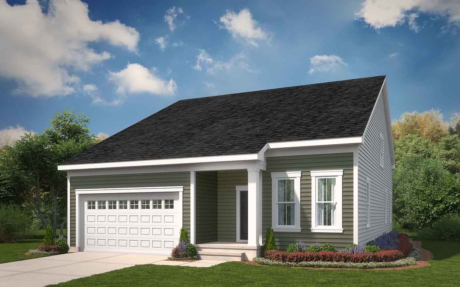 Exterior:Elevation 1 of the Picasso a home design offered at Heritage Shores in Bridgeville DE
