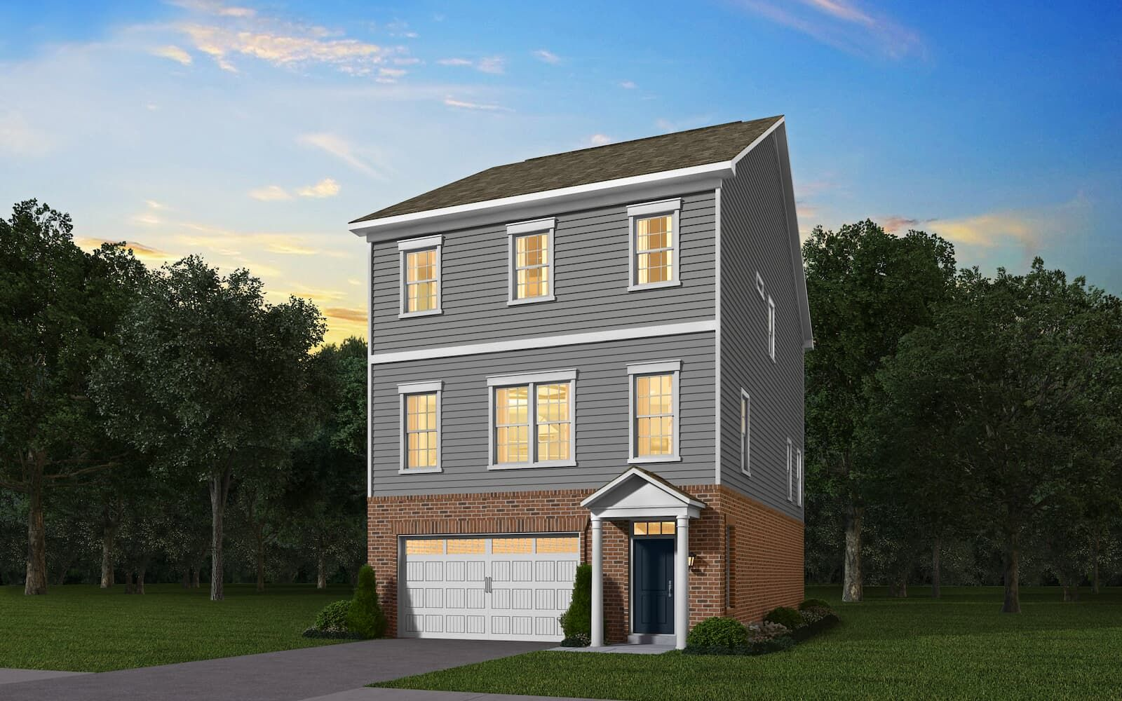 Exterior:Elevation 1 of the Prescott a home design by Brookfield Residential at Dowden s Station in Clarksburg MD