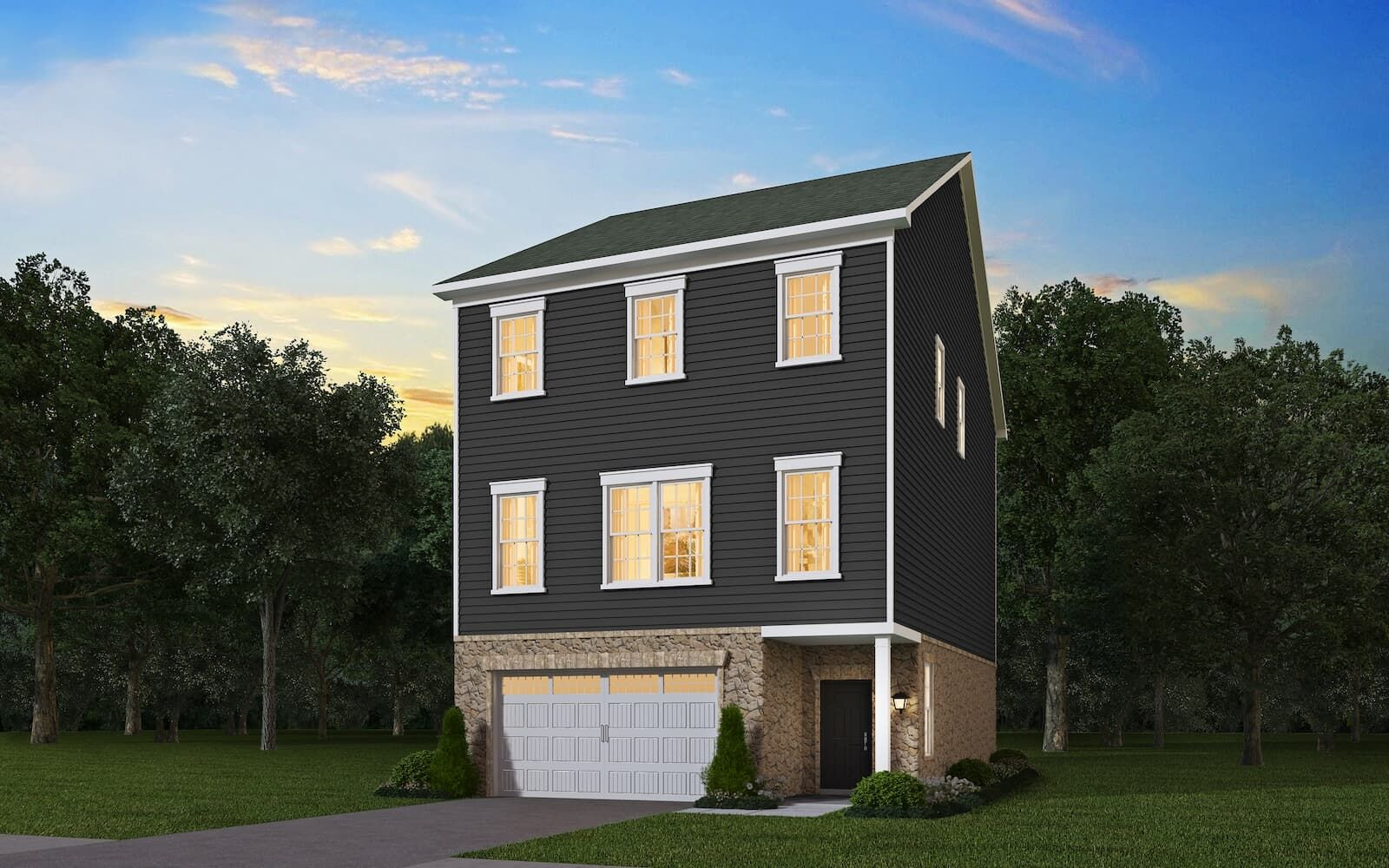 Exterior:Elevation 1 of the Flagstaff a home design by Brookfield Residential at Dowden s Station in Clarksburg MD