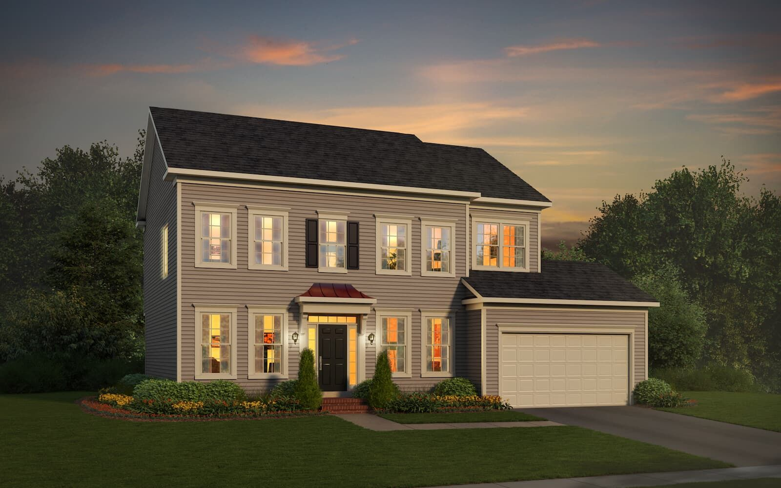 Exterior:Elevation 1 of the Brighton a home design by Brookfield Residential at The Bluffs at Sleeter Lake