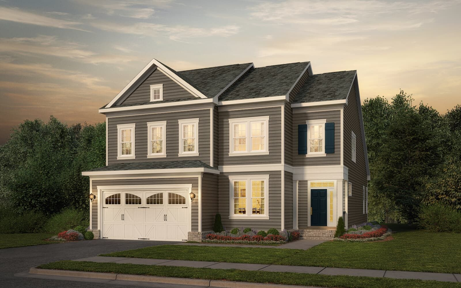 Exterior:Elevation 1 of the Cortland a home design by Brookfield Residential at West Shore Village at The Bluffs at Sleeter Lake
