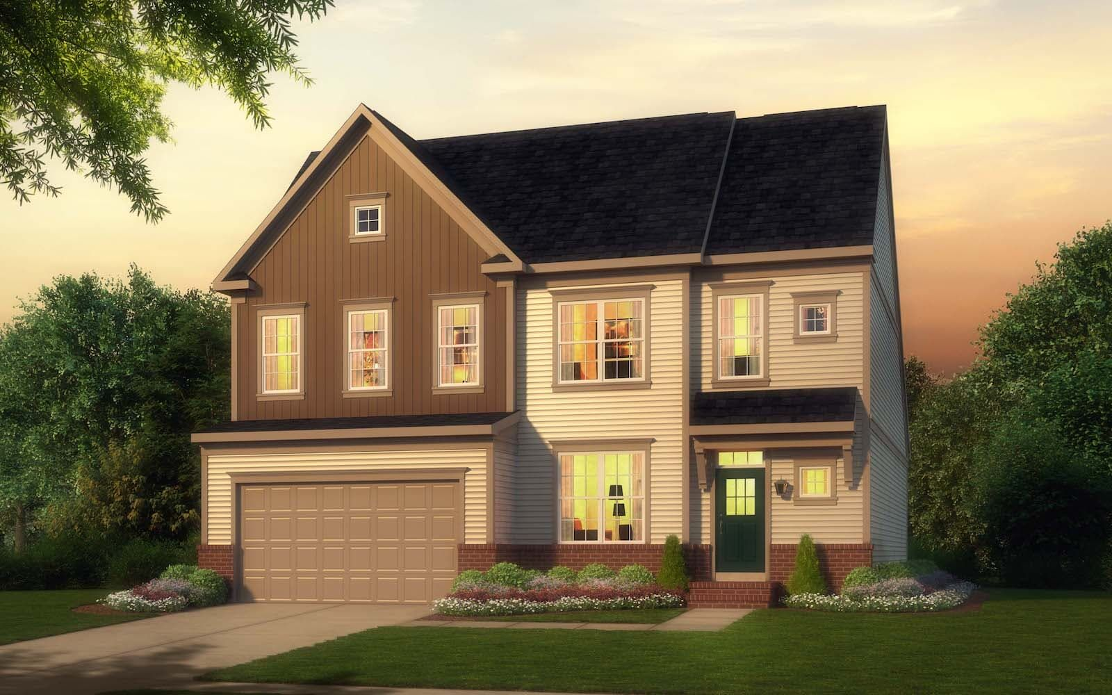Exterior:Elevation 1 of the Cresswell a home design by Brookfield Residential at West Shore Village at The Bluffs at Sleeter Lake.