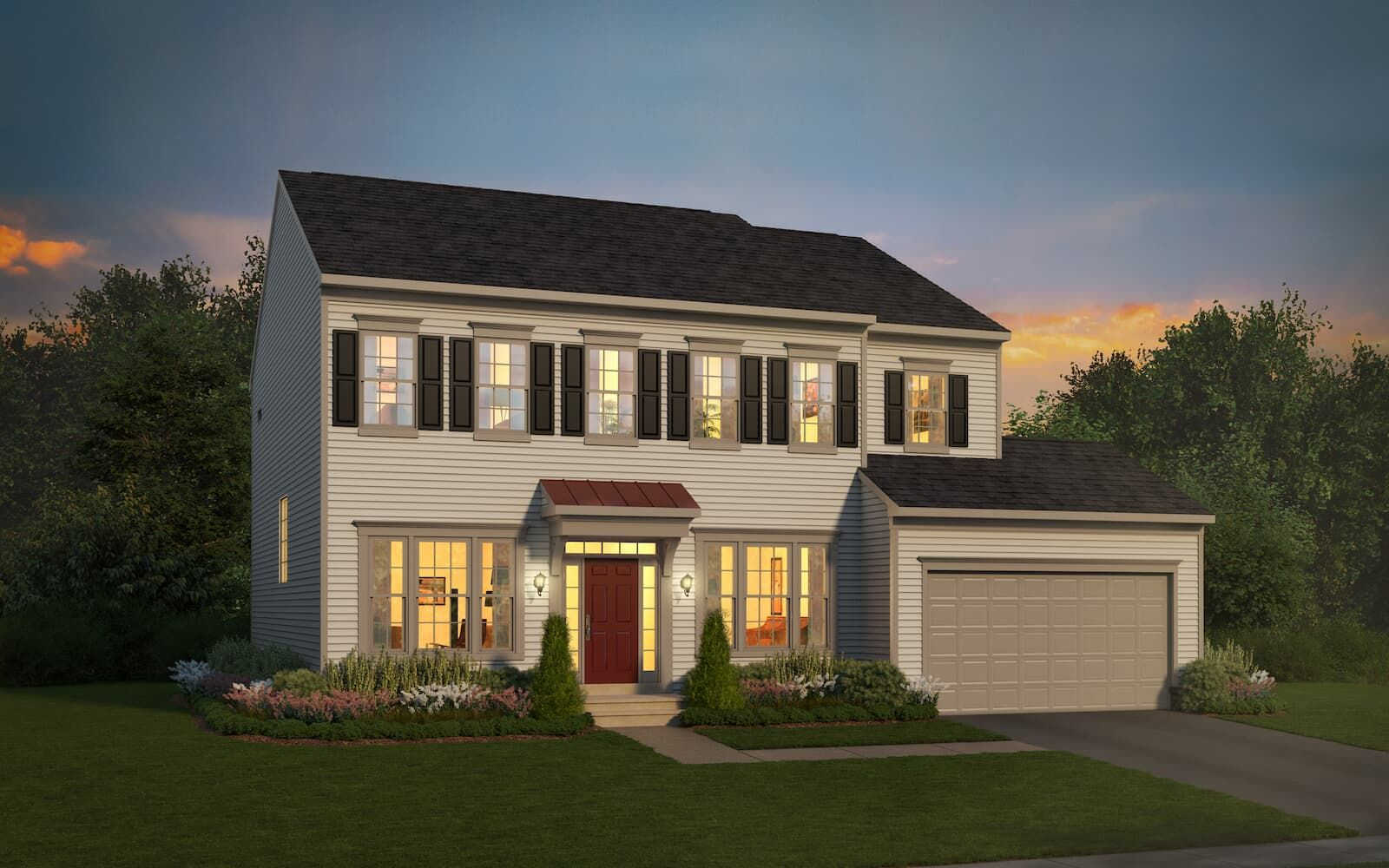 Exterior:Elevation 1 of the Kensington a single family home design by Brookfield Residential.