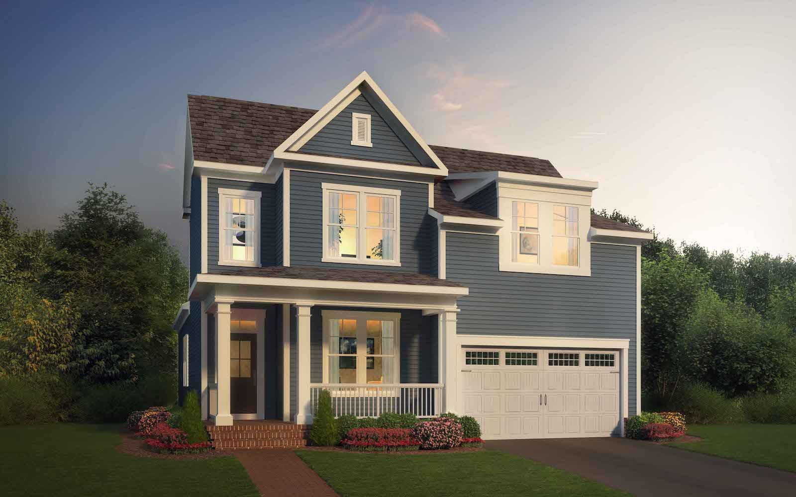 Exterior:Elevation 1 of the Torrington a home design by Brookfield Residential at West Shore Village at The Bluffs at Sleeter Lake.