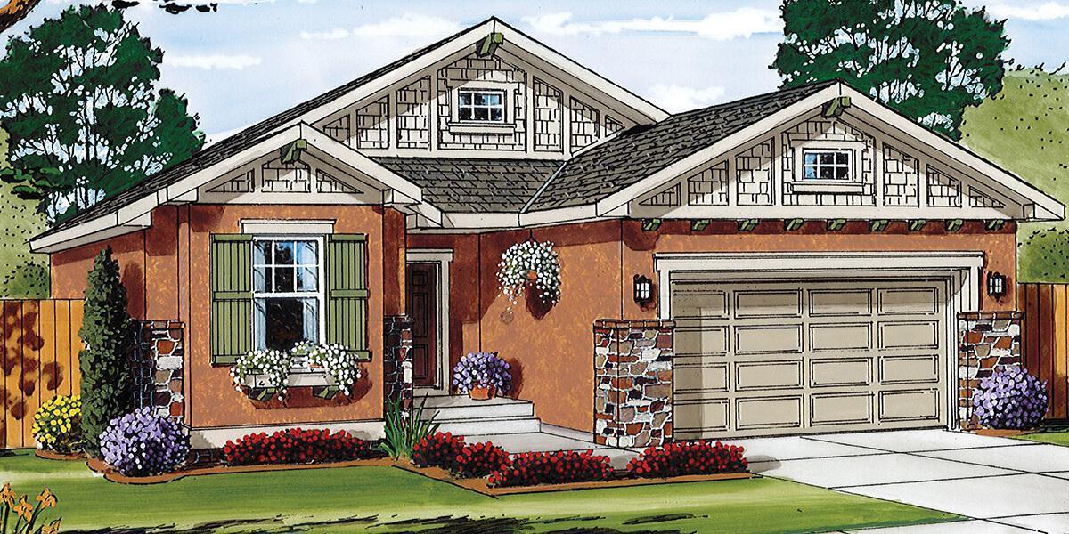 Augusta :Elevation A, Craftsman