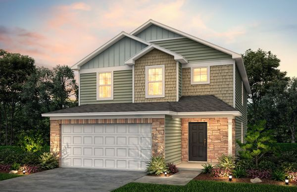 Murray:Murray Exterior 9 features stone, siding, shakes, covered front door and 2 car garage