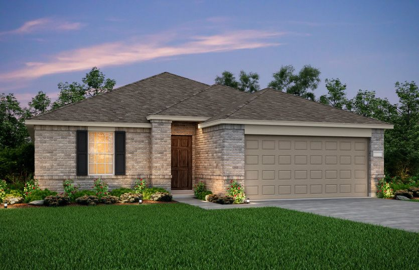 Exterior:The Eastgate, a one-story home with 2-car garage, shown with Home Exterior N