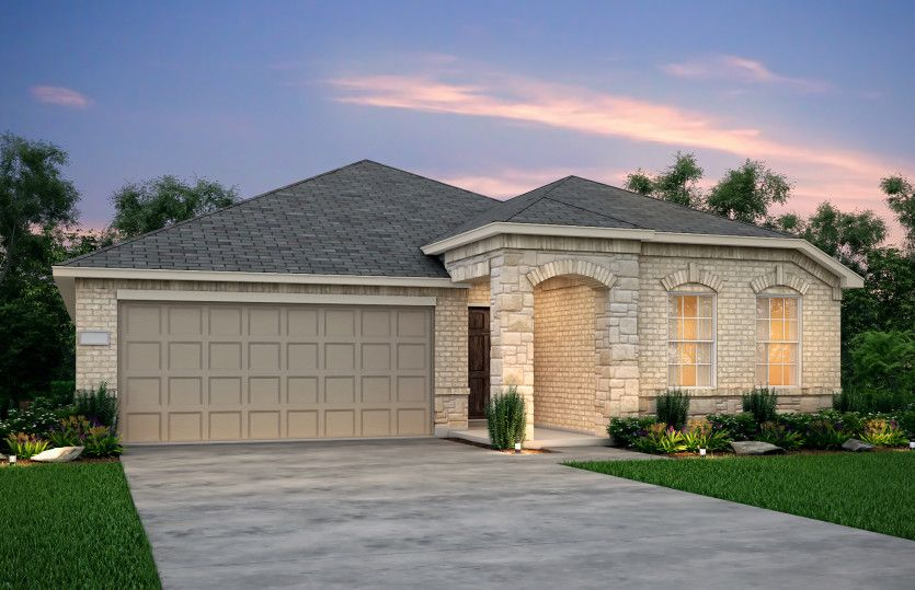 Killeen:The Killeen, a one-story home with 2-car garage, shown with Home Exterior F