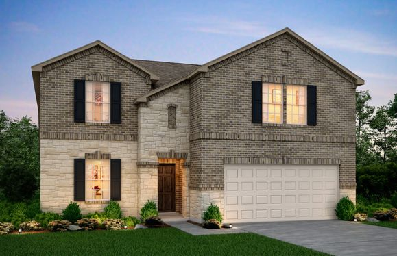 Exterior:The Stockdale, a two-story home with 2-car garage, shown with Home Exterior Q