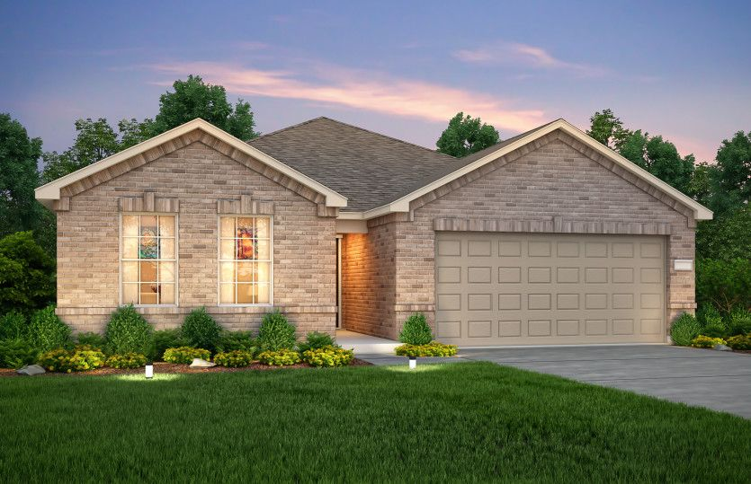 Exterior:The Rayburn, a one-story home with 2-car garage, shown with Home Exterior O