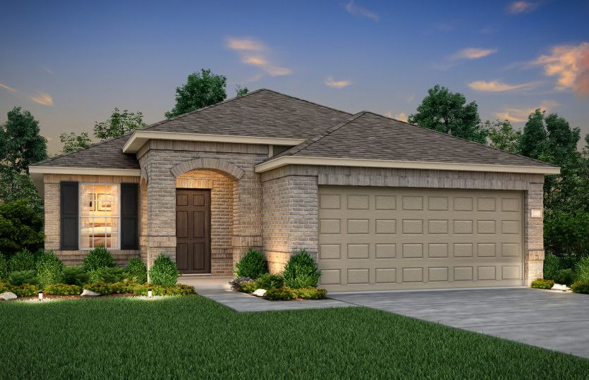 Becket:The Becket, a one-story home with 2-car garage, shown with Home Exterior P