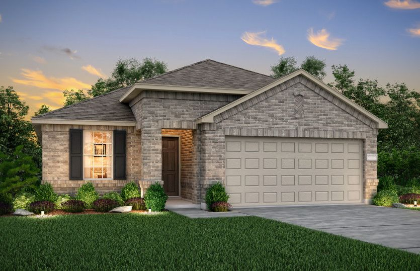 Independence:The Independence, a one-story home with 2-car garage, shown with Home Exterior P