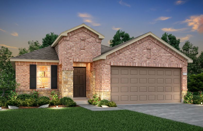 Hewitt:The Hewitt, a one-story home with 2-car garage, shown with Home Exterior Q