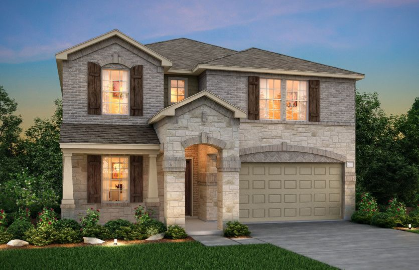 Kisko:The Kisko, a two-story home with 2-car garage, shown with Home Exterior R